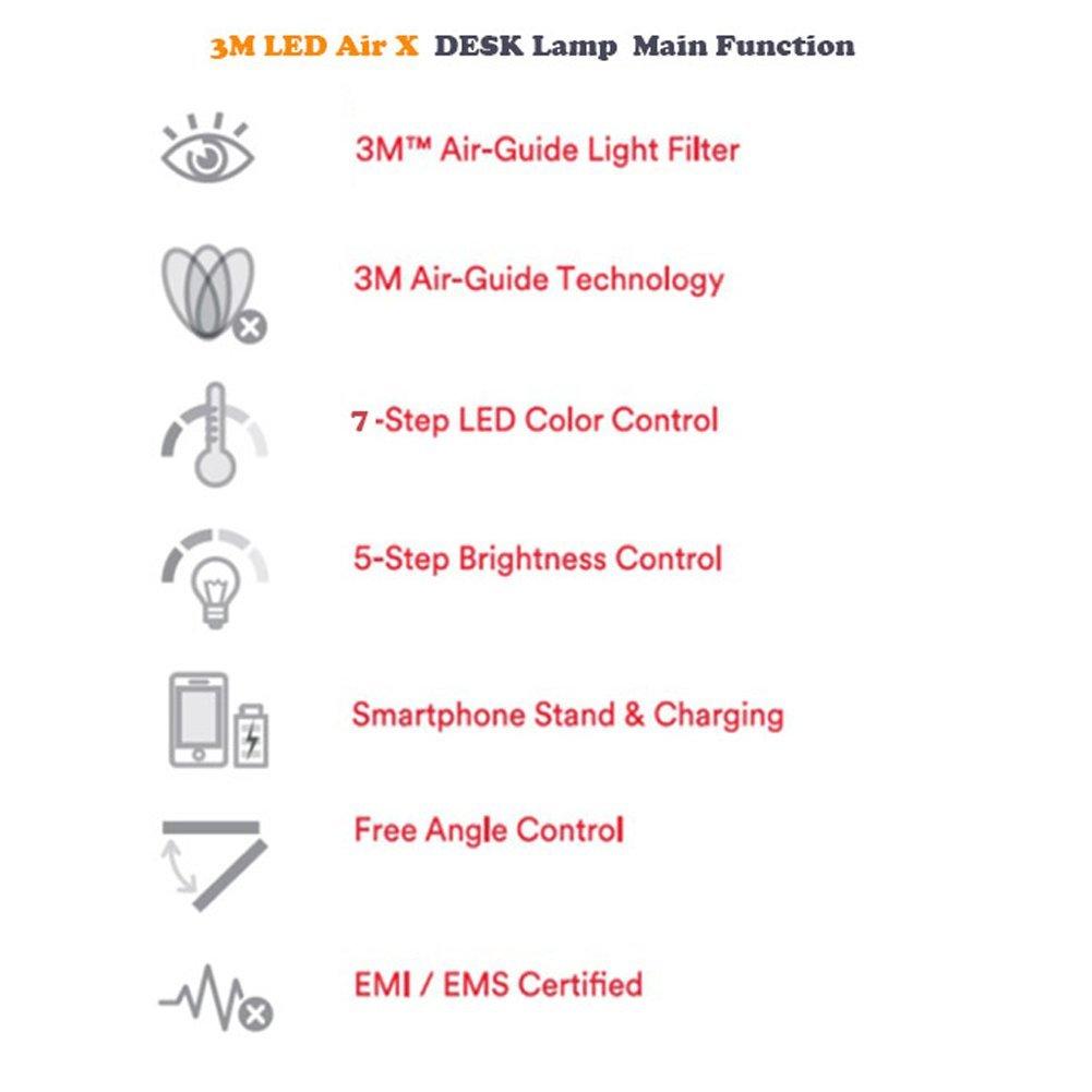 3m Led Air X Desk Lamp Anti Glare Anti Shadow 5 Step Led