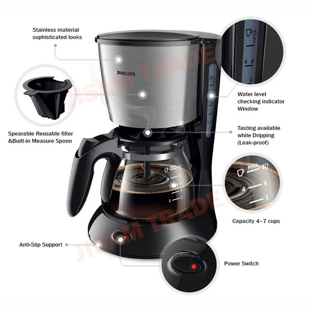 b9f05ad5838 Philips Daily Collection Coffee Maker HD7434 20 With glass jug Compact  design (0.6L) Pistil Black 220V